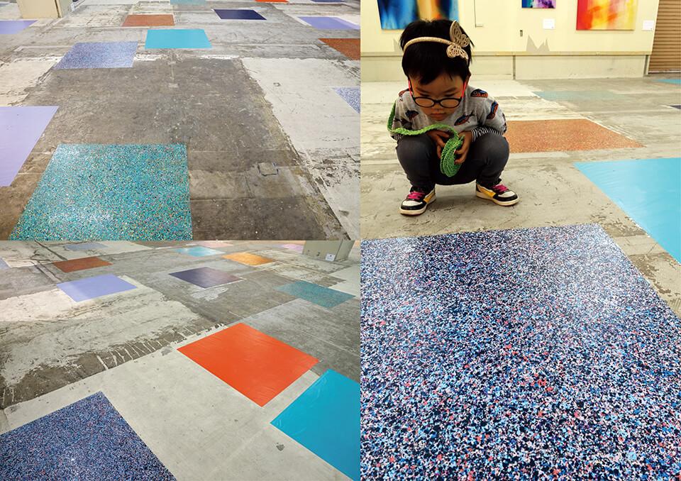 「下町芸術祭-ウィズペインター」<br /> アスタくにづか空店舗/神戸<br /> <br /> 「カオスモスペインティング-chaosmos painting」<br /> 2015<br /> 100×100cm detail<br /> acrylic on floor