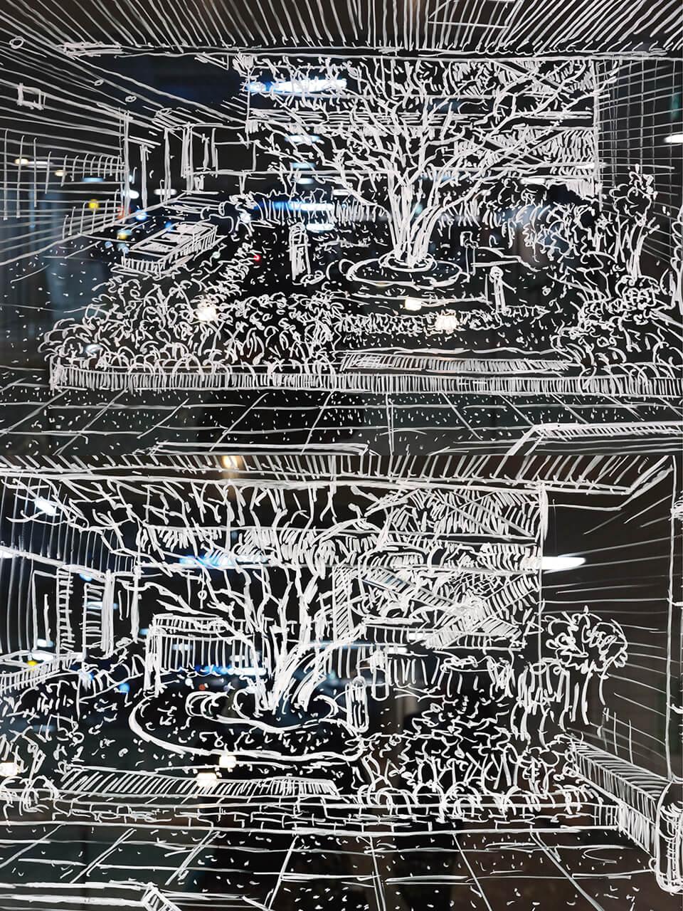 「BEYOND~コチラとムコウ in 茨木~ 」<br /> 2014<br /> 2階通用口 210×600cm detail<br /> 施設内の4カ所、計20数枚の窓ガラスに直接ドローイング<br /> lacquer marker direct on window<br /> 茨木市立生涯学習センターきらめき/大阪