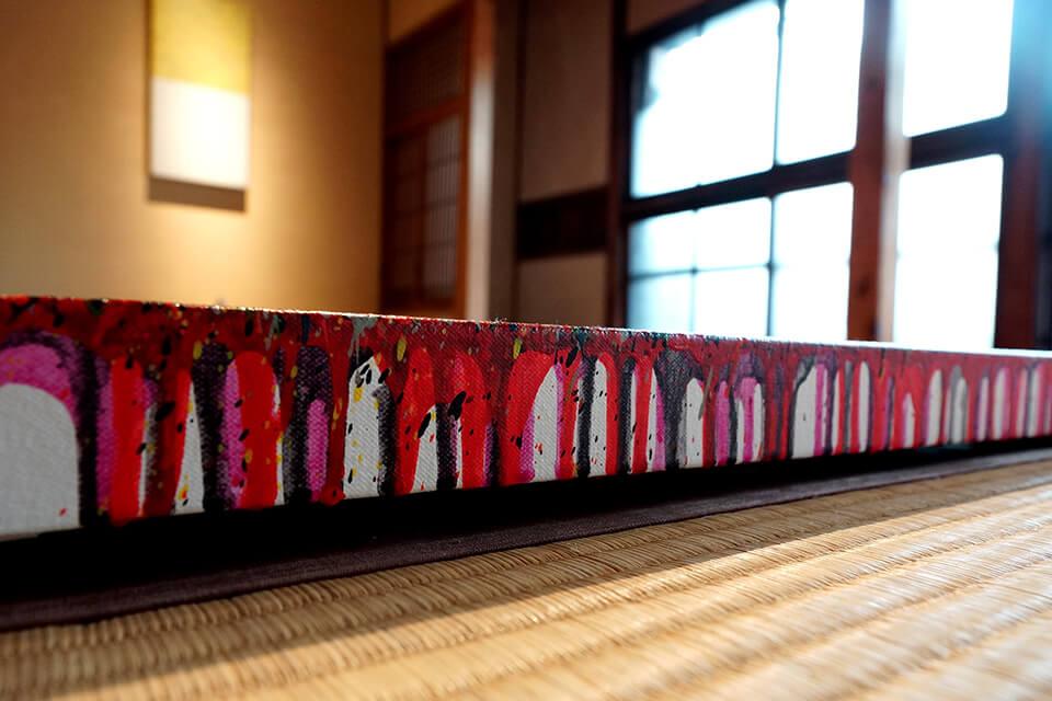 「カオスモスペインティング-chaosmos painting」<br /> 2015<br /> 92×184×4cm detail<br /> acrylic on canvas