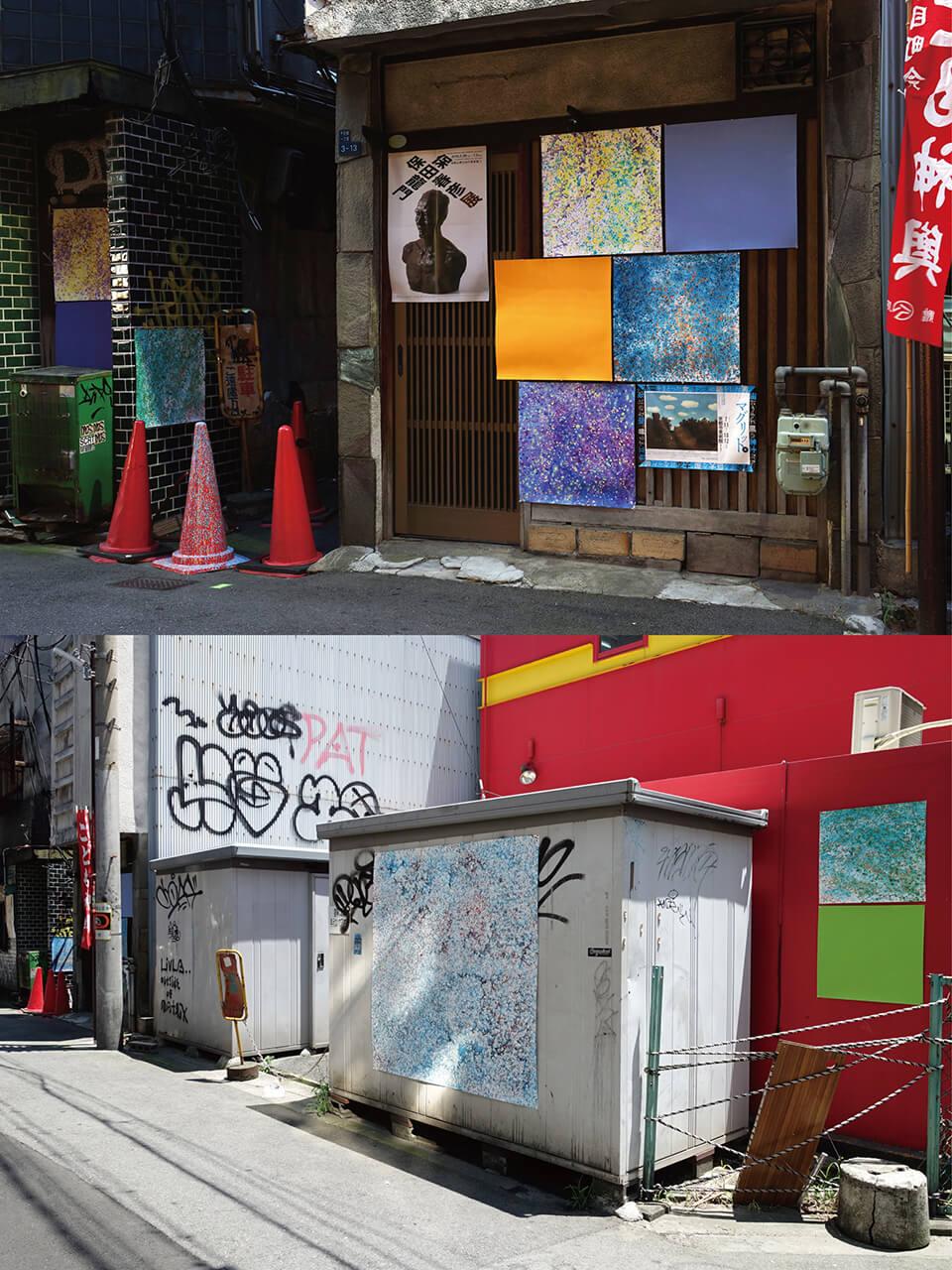 「カオスモス ドローイング~chaosmos drawing」<br /> 2015<br /> 60×60cm~140×140cm<br /> acrylic on watercolor paper<br /> acrylic on canvas<br /> ギャラリーから半径50m程度の街の中10カ所に展示<br /> ギャラリー編・かのこ 周辺の街/大阪