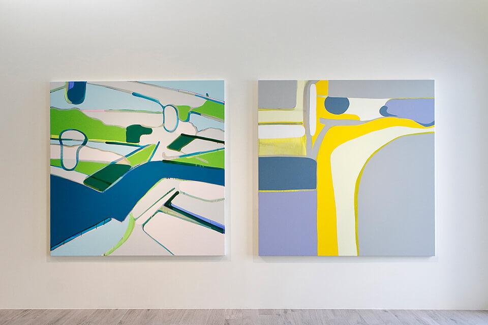 「wandering」<br /> 2011-2012<br /> 162×162×4cm<br /> acrylic on canvas