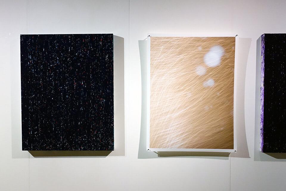 [左]「WM- High-Light」<br /> 2016<br /> 91×72.7×5cm<br /> acrylic on canvas<br /> <br /> [右]大洲 大作 氏「冬の光Ⅱ」