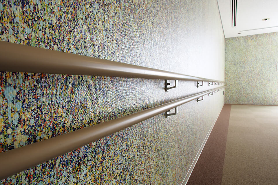 「WM」<br /> 2016-17<br /> acrylic direct on wall<br /> 茨木市生涯学習センターきらめき 3階/大阪