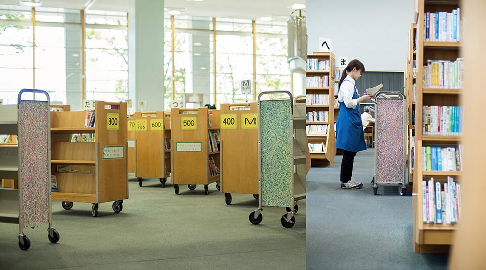 「WM」<br /> 2016-17<br /> acrylic direct on bookshelf<br /> 中央図書館/大阪