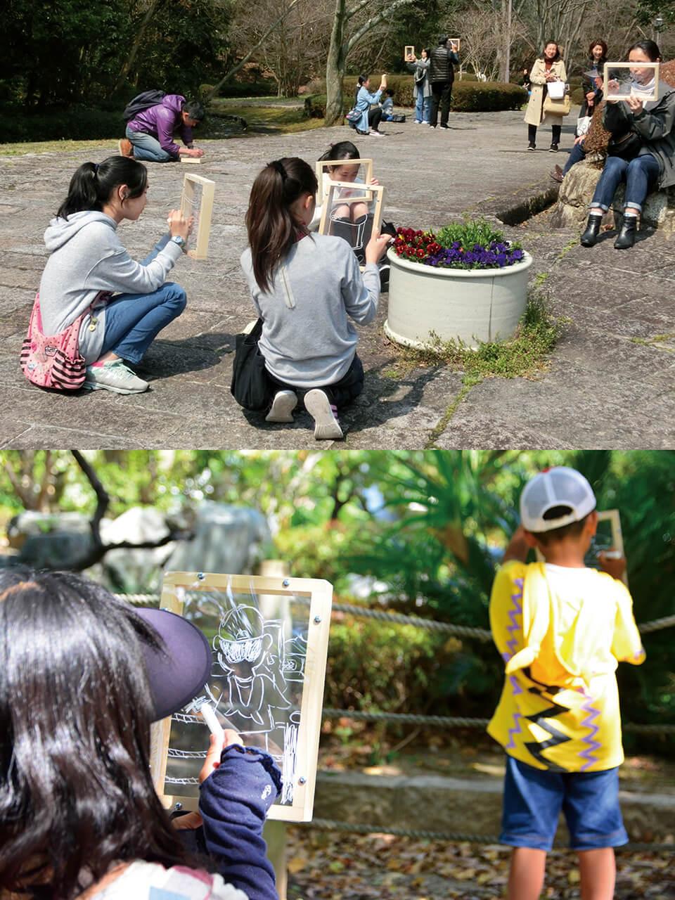 「コチラとムコウ」<br /> 持ち運べるオリジナル小窓を使い、風景を写し描くワークショップ<br /> [上]2017/滋賀県立近代美術館[クロージングイベント]<br /> [下]2018/茨木市役所/大阪[茨木こども芸術文化講座]