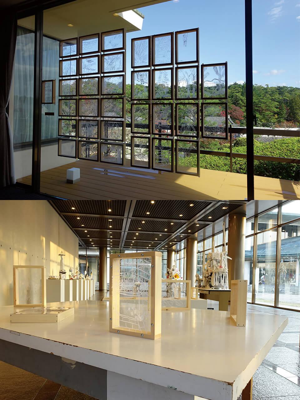 「コチラとムコウ」<br /> 各自の視点で制作した小窓を展示<br /> [上]2017/淺沼記念館[学園前アートフェスタ2017]/奈良<br /> [下]2017/滋賀県立近代美術館[クロージングイベント]