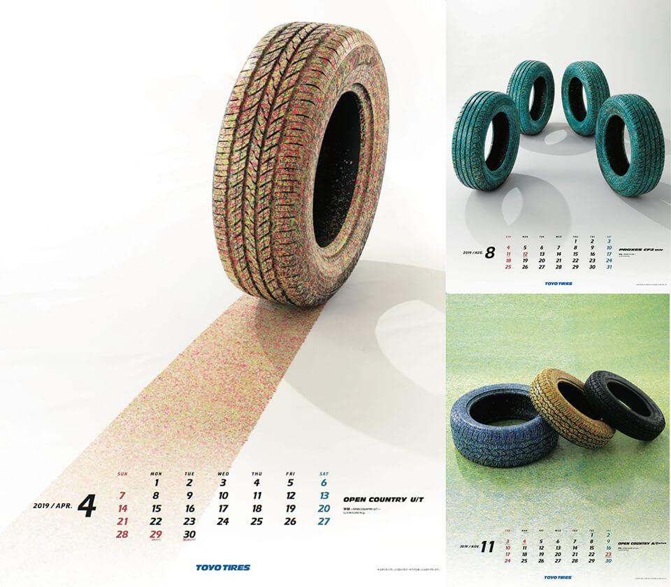 TOYO TIRES株式会社 企業カレンダー 2019<br /> 2018<br /> 3人の作家が実物のタイヤを作品化。<br /> 僕は1月、4月、8月、11月の4ヶ月を担当し、計10本のタイヤと背景にペインティング。<br /> <br /> 「WM」<br /> acrylic/others direct on tire