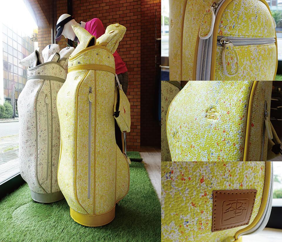 ゴルフウェアブランドFairyPowder×中島麦のコラボキャディーバック<br /> 2019~<br /> スポーツ関連グッズにテキスタイルパターンを提供
