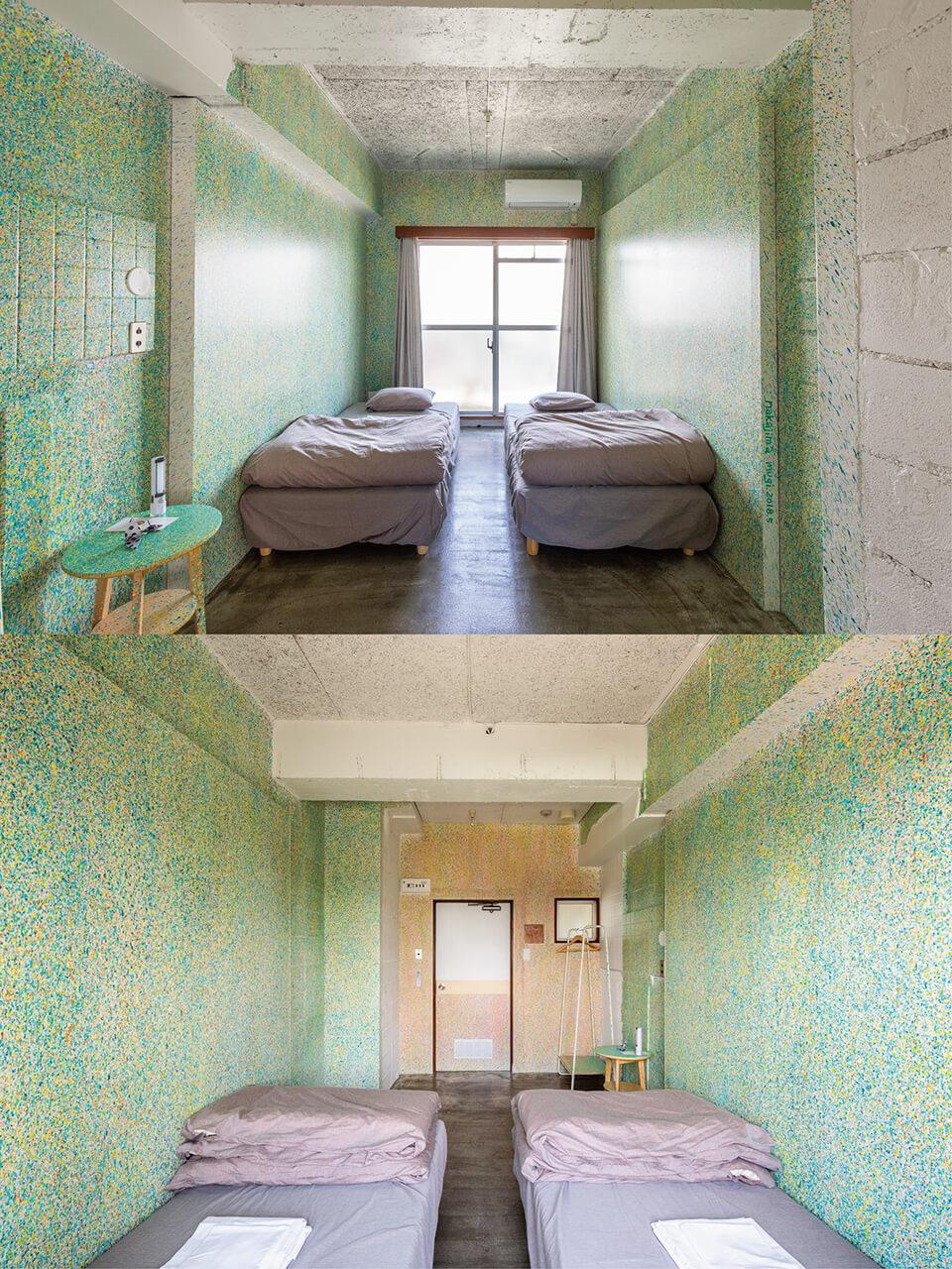 [ホテルアートルームプロジェクト]<br /> 「アウト プット アート プット」<br /> 2018<br /> ホテルの1室に全面的にペインティング/宿泊可能<br /> acrylic direct on wall<br /> SHIBAMATA FU-TEN Bed and Local/東京