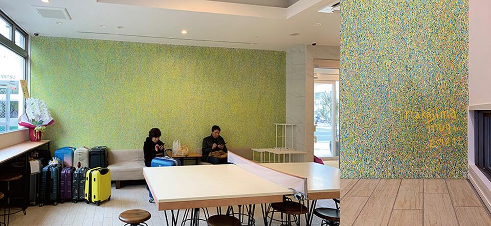 [Commission art work]<br /> nico hotel<br /> エントランス壁画及び各種オブジェ制作<br /> 2019<br /> acrylic direct on wall<br /> 大阪