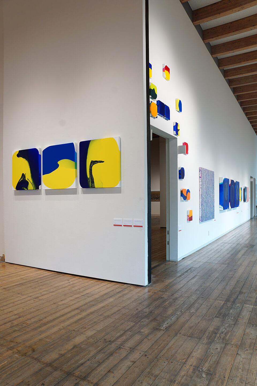 「絵画展…なのか?」<br /> 2019<br /> Exhibition site view<br /> <br /> 「WM」シリーズ<br /> 制作年:2016-2019<br /> acrylic on canvas<br /> <br /> 「luminous dropping」<br /> 制作年:2018-2019<br /> acrylic on canvas<br /> <br /> 川口市立ギャラリー・アトリア/埼玉<br /> (企画三人展/原田 要/山本 修司/中島 麦)