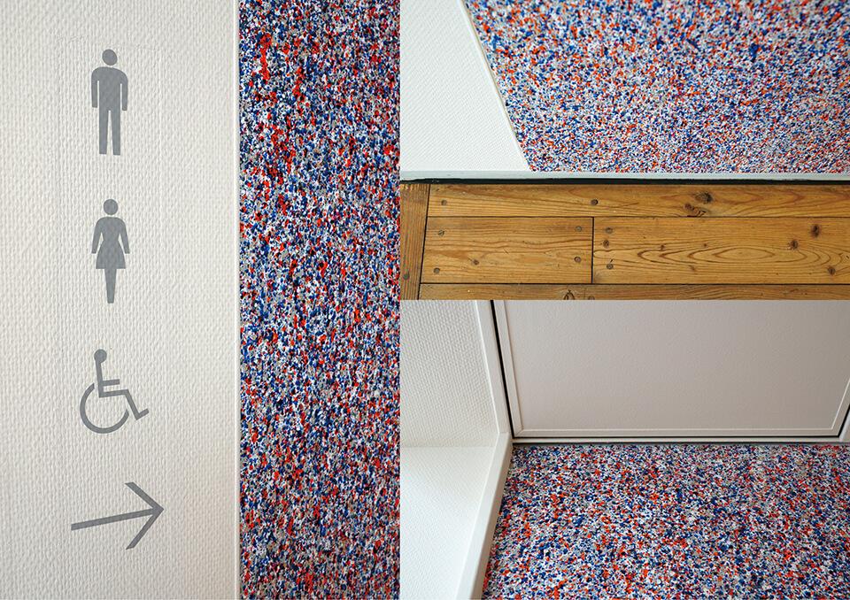 「絵画展…なのか?」<br /> 2019<br /> Exhibition site view<br /> <br /> 「WM-atlia wall」<br /> 2019<br /> 233.5×852cm<br /> acrylic direct on wall<br /> 川口市立ギャラリー・アトリア/埼玉