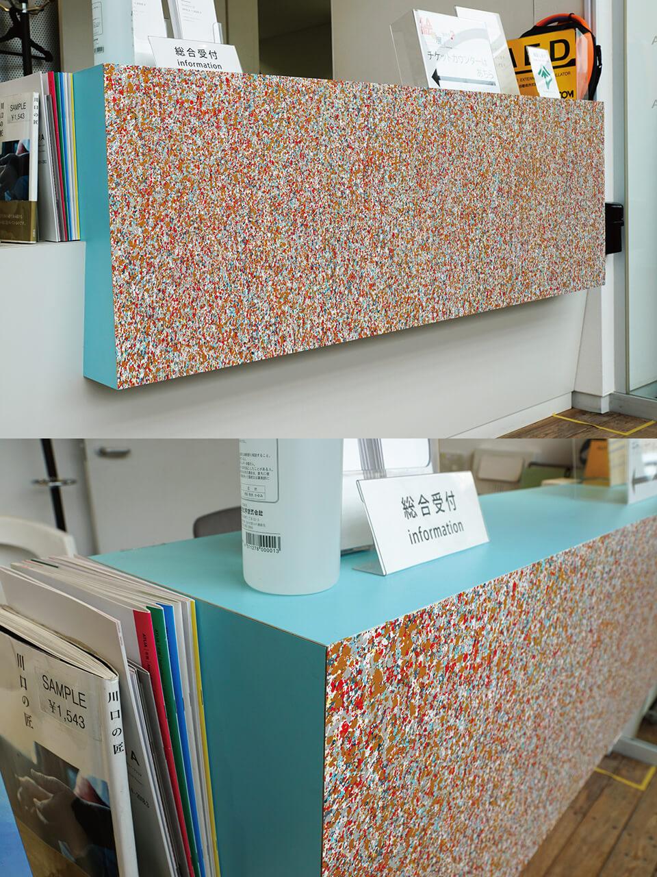 「絵画展…なのか?」<br /> 2019<br /> Exhibition site view<br /> <br /> 「WM-atlia counter wall」<br /> 2019<br /> 55×160cm<br /> acrylic direct on reception counter<br /> 川口市立ギャラリー・アトリア/埼玉