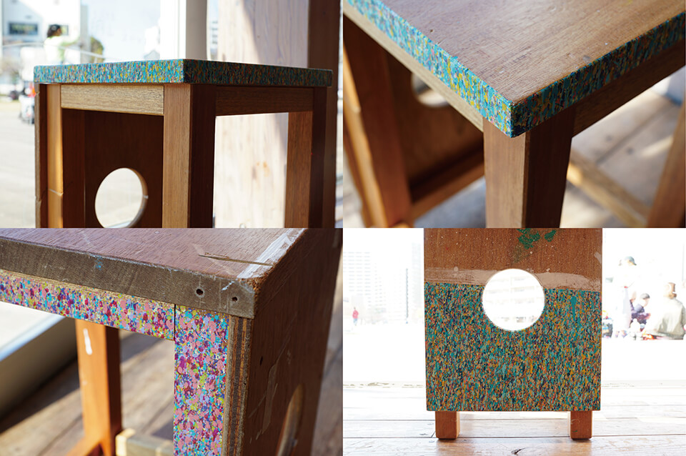 「絵画展…なのか?」<br /> 2019<br /> Exhibition site view<br /> <br /> 「WM-atlia stool」<br /> 2019<br /> 46×30×30cm 10点<br /> acrylic direct on work stool<br /> <br /> 川口市立ギャラリー・アトリア/埼玉
