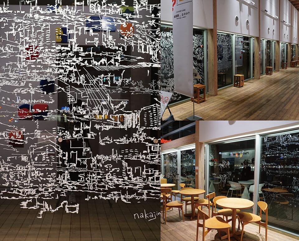 「絵画展…なのか?」<br /> 2019<br /> Exhibition site view<br /> <br /> 「コチラとムコウ in 川口」<br /> 2019<br /> 205×2588.8cm <br /> acrylic direct on glass window<br /> <br /> 「コチラとムコウ in 川口」(ワークショップ参加者と共に制作)<br /> 2019<br /> 205×1758cm<br /> acrylic direct on glass window<br /> <br /> 川口市立ギャラリー・アトリア/埼玉