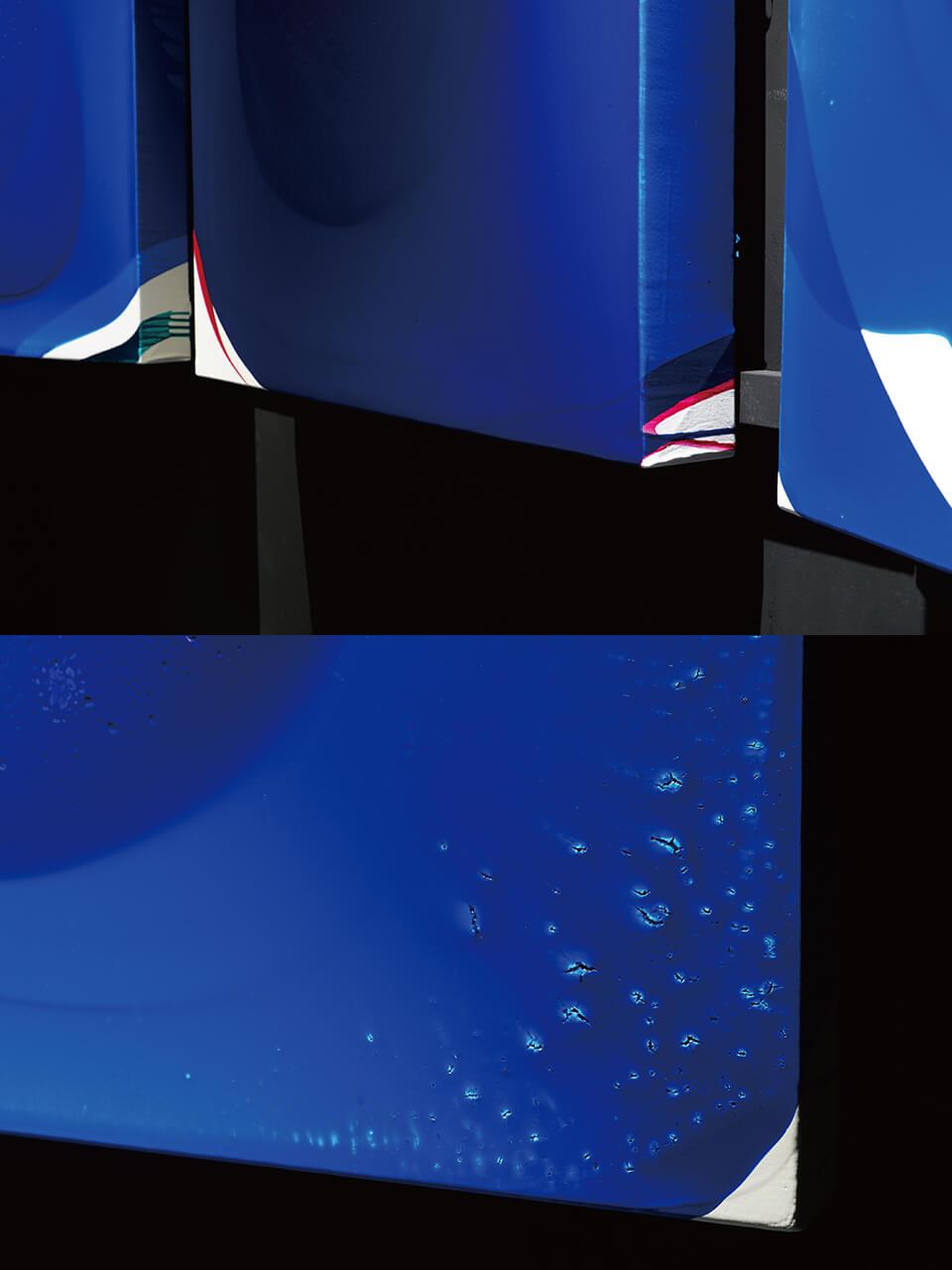 「luminous dropping」<br /> 2018-19<br /> 100×100×10cm 3点 detail<br /> acrylic on canvas<br /> <br /> Gallery白 kuro/大阪